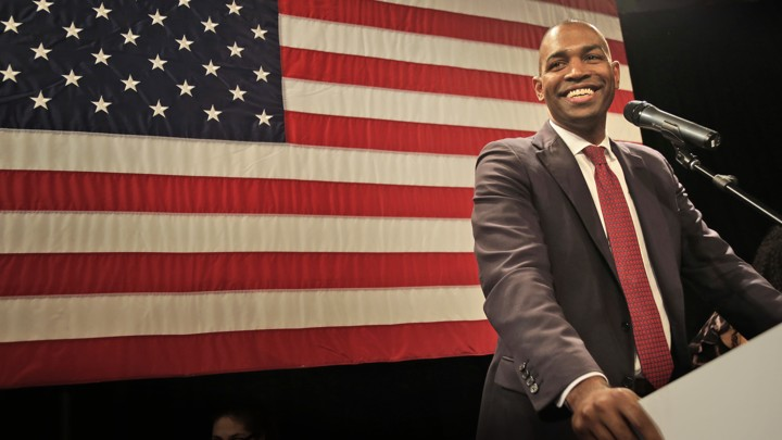 Antonio Delgado speaks at a Democratic watch party in Kingston, N.Y., after defeating incumbent Republican John Faso on Tuesday, Nov. 6, 2018