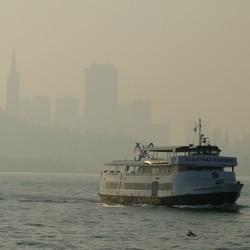 Smoke over the San Francisco skyline