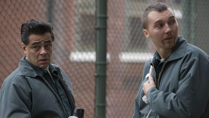 "Benicio del Toro as Richard Matt and Paul Dano as David Sweat in the Showtime prison drama ""Escape at Dannemora"""