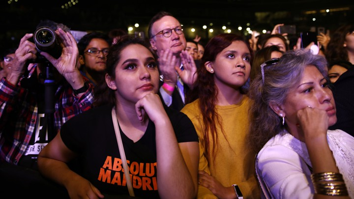 Supporters react as Beto O'Rourke concedes to Ted Cruz.