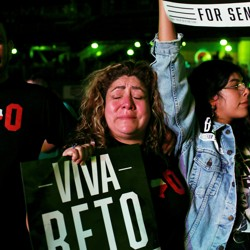 A supporter cries as Beto O'Rourke concedes at his election night party