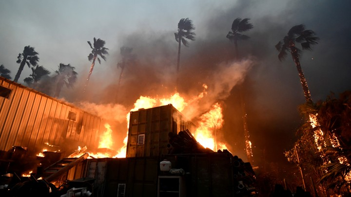 A home is engulfed in flames during the Woolsey Fire in Malibu, California on November 9, 2018.