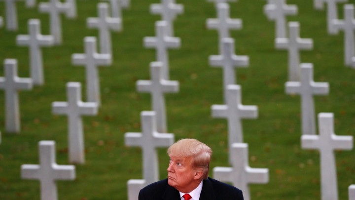 Donald Trump at the commemoration for Armistice Day in Paris on November 11, 2018