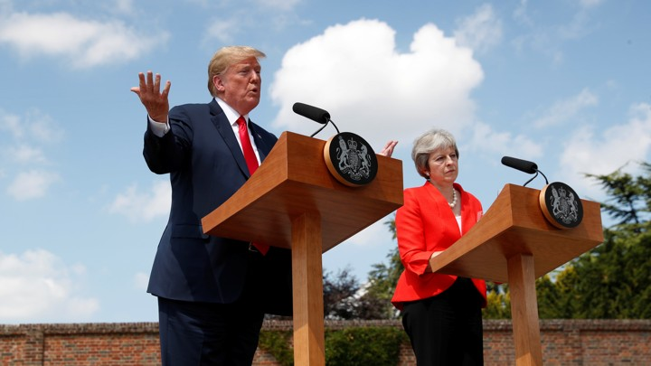 Donald Trump and Theresa May hold a press conference after a meeting in July 2018.