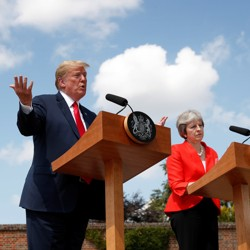 Donald Trump and Theresa May hold a press conference after a meeting in July 2018