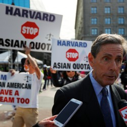 """Anti-affirmative action activist Edward Blum, founder of Students for Fair Admissions (SFFA), speaks to reporters at the """"Rally for the American Dream-Equal Education Rights for All"""""""