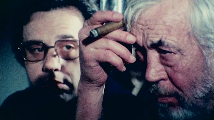 Peter Bogdanovich and John Huston in Orson Welles's 'The Other Side of the Wind'
