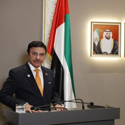 UAE Ambassador to the UK Sulaiman Hamid Almazroui delivers a statement to the media about Matthew Hedges on Nov. 23, 2018