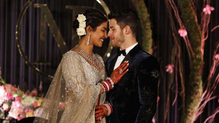 Priyanka Chopra and Nick Jonas at their wedding reception in New Delhi, India on Dec. 4, 2018