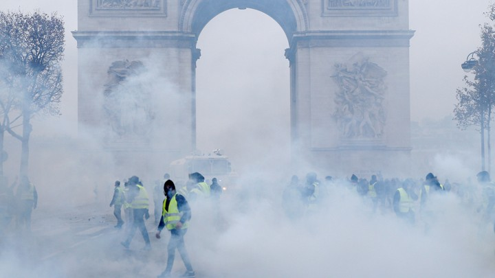 """Yellow vest"" protesters clashed with police near the Arc de Triomphe on December 1."