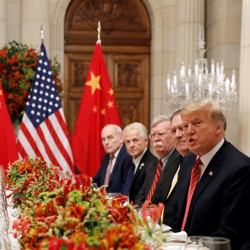 Trump, Secretary of State Mike Pompeo, and National-Security Adviser John Bolton meet with Xi Jinping at the G20 summit in December.