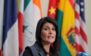 Nikki Haley speaks at the United Nations in January 2018.