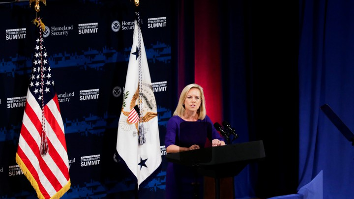 Homeland Security Secretary Kirstjen Nielsen speaks at a July conference.