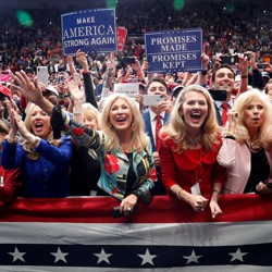 Trump supporters participate at a campaign rally in Charlotte, North Carolina on October 26, 2018.