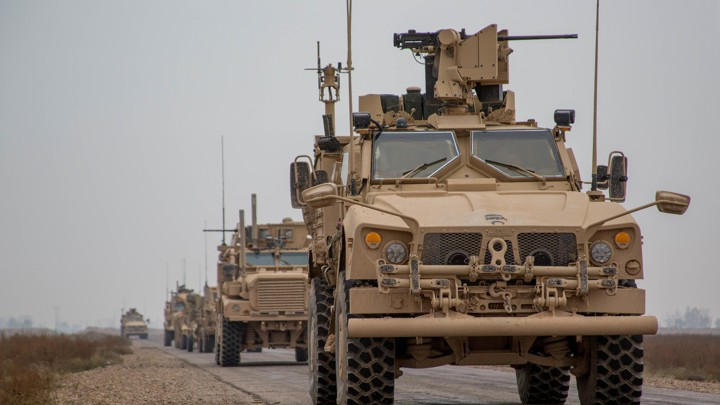 A convoy from the U.S. led international coalition against the Islamic State in Syria on November 22, 2018