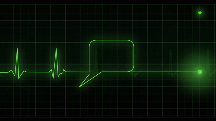 An EKG readout turns into a speech bubble
