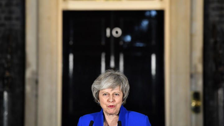 Theresa May speaks to reporters after surviving a no-confidence vote on January 16.