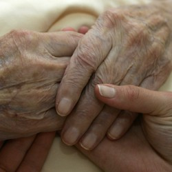An elderly person holds hands with a younger person