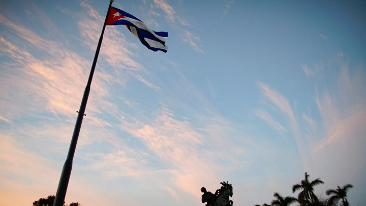 A Cuban flag in Havana