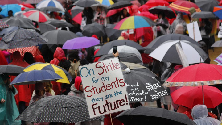 More than 30,000 teachers in the Los Angeles public school system held a rally at City Hall on January 14, 2019.