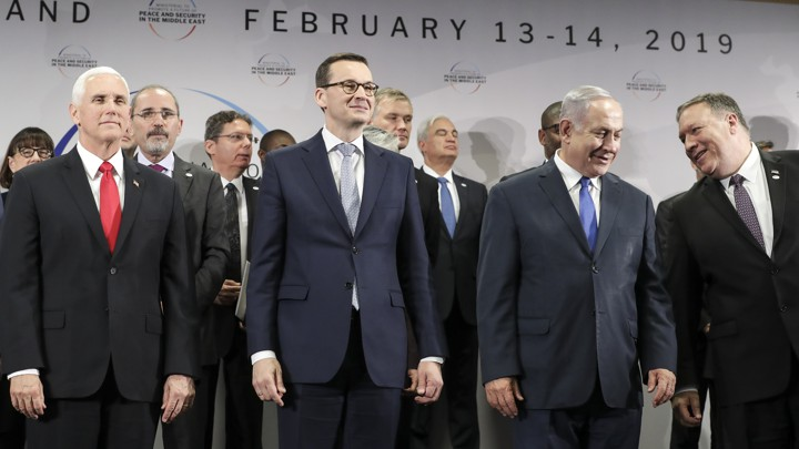 Mike Pence, Polish Prime Minister Mateusz Morawiecki, Israeli Prime Minister Benjamin Netanyahu, and U.S. Secretary of State Mike Pompeo pose for a photo at the Warsaw conference.