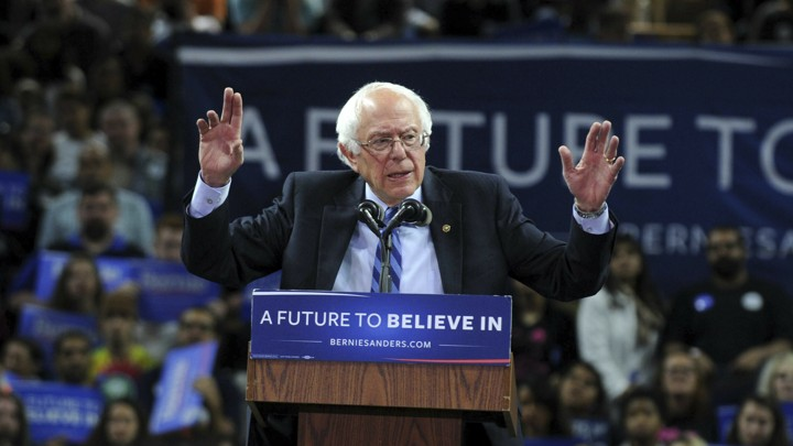 Bernie Sanders speaks at a rally in New Jersey in 2016.