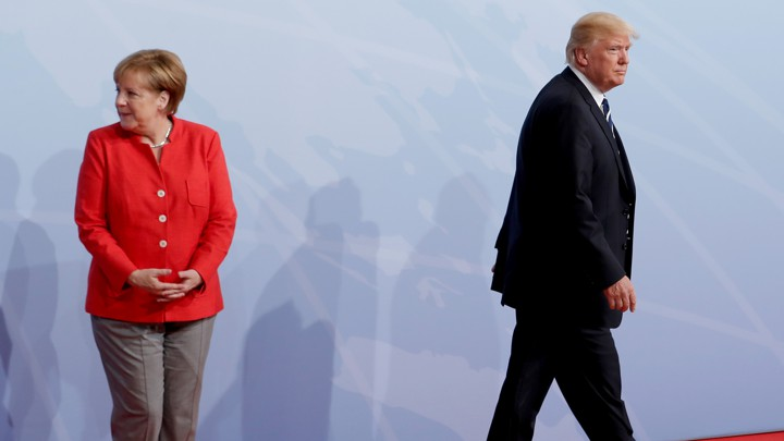 Trump and Merkel meet in Hamburg in 2017.