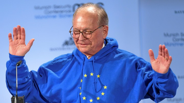Wolfgang Ischinger wears a hoodie with the EU flag at the Munich Security Conference on February 15, 2019.
