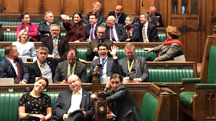 "Members of the newly formed ""Independent Group"" sit together in the British Parliament."