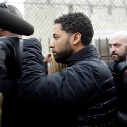 Jussie Smollett exits the Cook County Department of Corrections in Chicago after posting bail on Thursday.