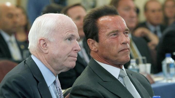 0665e205 Senator John McCain and former California Governor Arnold Schwarzenegger at  the University of Southern California in 2013Nick Ut / AP