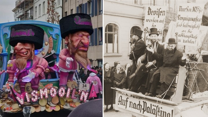 A carnival float in Aalst, Belgium (L), and an archival image of an anti-Semitic float in Marburg, Germany (R)