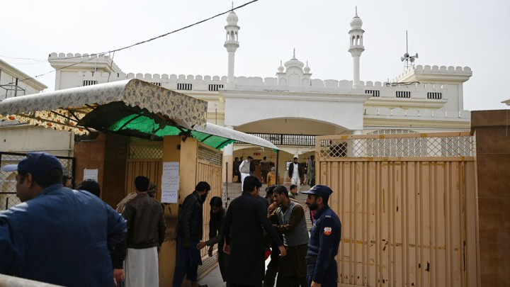 Men arrive for Friday prayers at an Islamabad mosque affiliated with Jamaat-ud-Dawa days after it was banned.