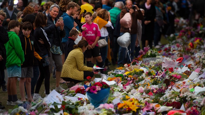 Flowers are laid out for the victims of the Christchurch mosque shootings.