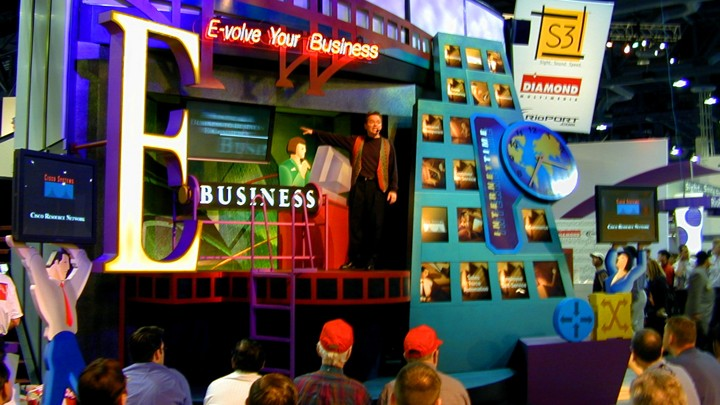 A very 90s Cisco booth at Comdex in 1999