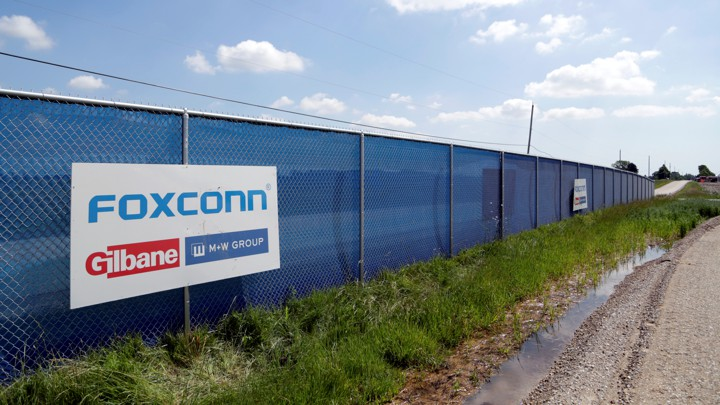 A Foxconn logo is seen in Mount Pleasant, Wisconsin.