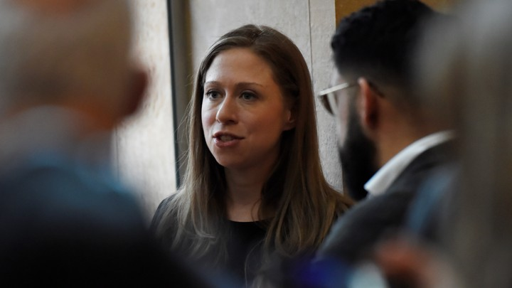 Chelsea Clinton speaks to people after the NYU vigil for the Muslims killed by a terrorist in Christchurch, New Zealand.
