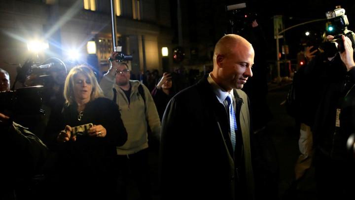 Michael Avenatti exits federal court on March 25.