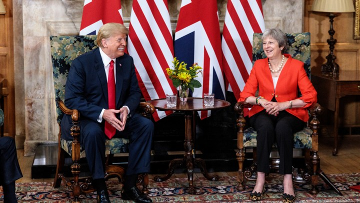 Donald Trump and Theresa May meet at Chequers, the prime minister's country residence, in July 2018.
