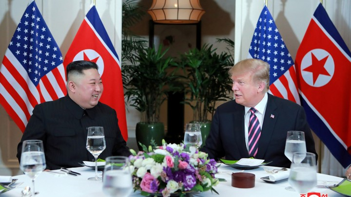 Kim Jong Un and Donald Trump meet during the second U.S.–North Korea summit in Hanoi, Vietnam.