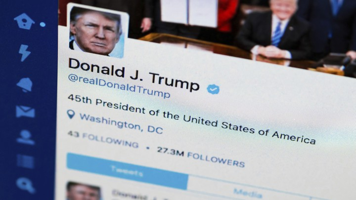 Donald Trump's twitter account on a screen