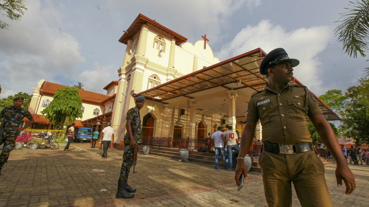 Sri Lankan army soldiers secure the area around St. Sebastian's Church in Negombo, north of Colombo.