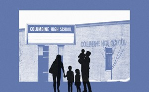 A silhouette of a family standing in front of Columbine