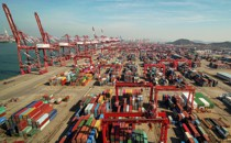 A port in Qingdao, in eastern China's Shandong province