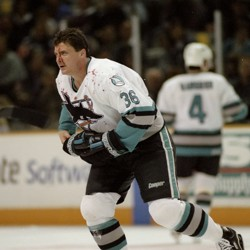 Todd Ewen skates with blood on his face, 1997