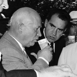 Nikita Khrushchev sips a cup of Pepsi