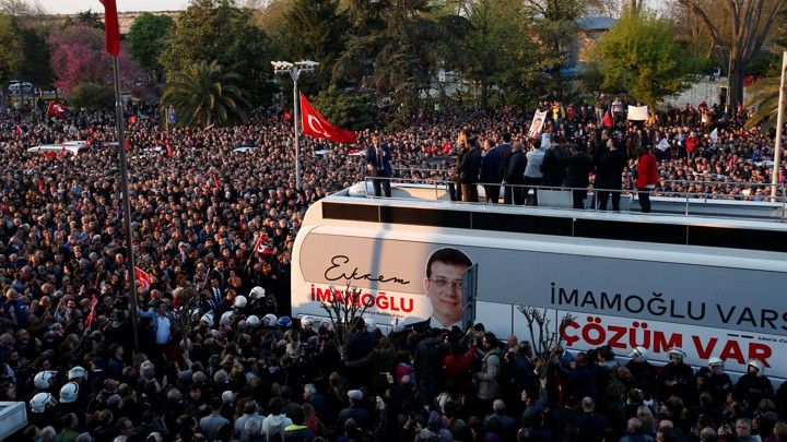 Newly elected Istanbul Mayor Ekrem Imamoğlu addresses supporters after taking office on April 17, 2019.