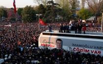 Newly elected Istanbul Mayor Ekrem Imamoğlu addresses supporters after taking office on April 17, 2019.
