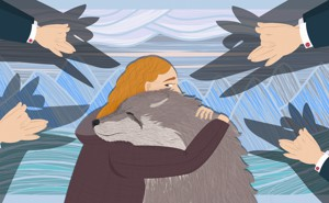 An illustration of a woman hugging a wolf