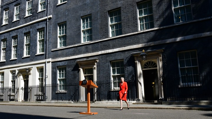 Theresa May walks out of 10 Downing Street to announce her resignation on May 24.